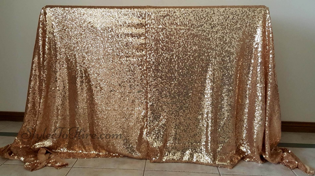 Gold sequin tablecloth $40.00