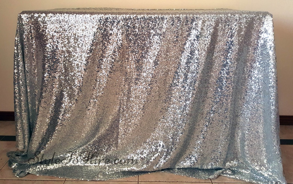 Silver sequin tablecloth $40.00