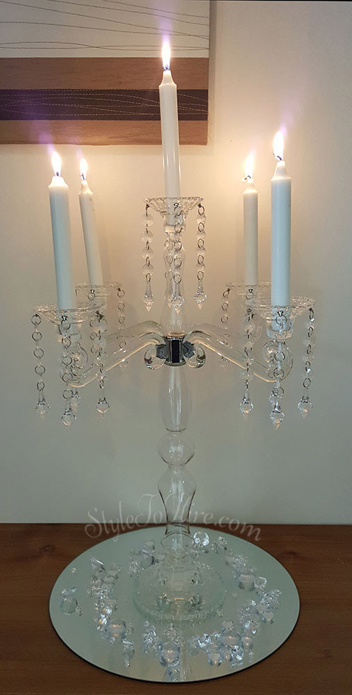 Glass Candelabra $35.00 each