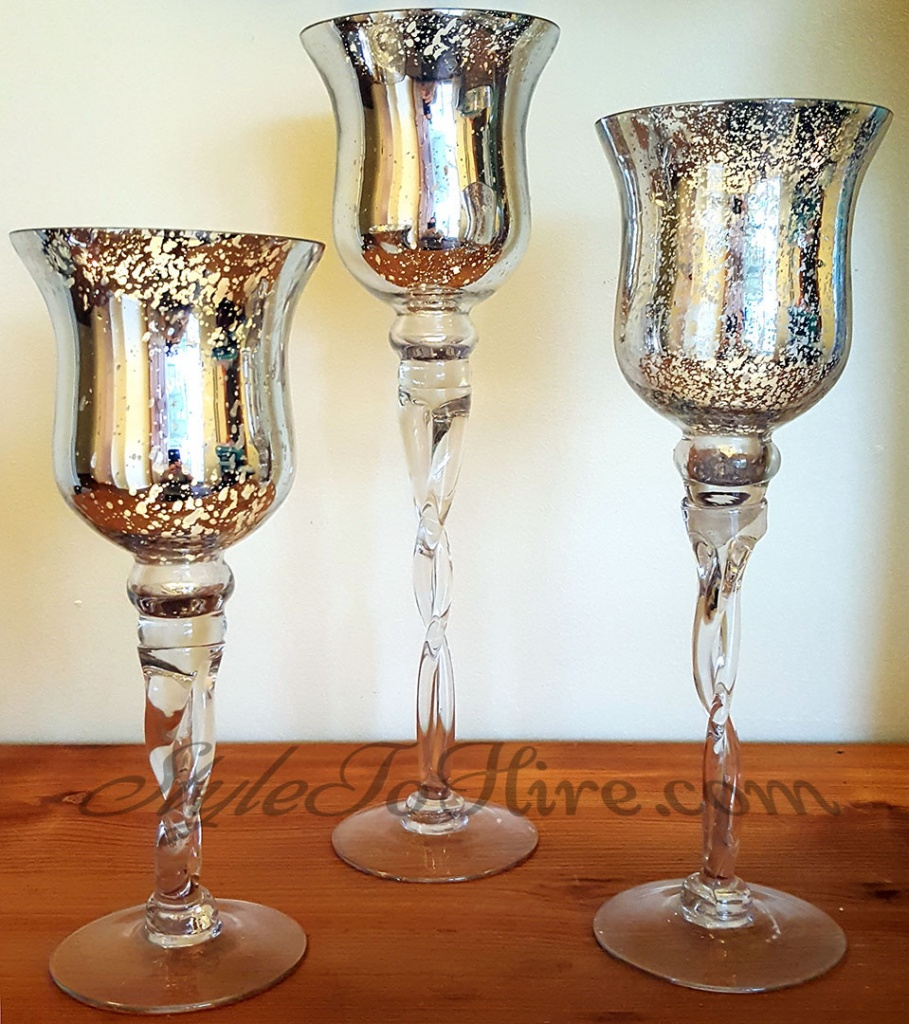 Silver mercury trio candle holders $19.50 each