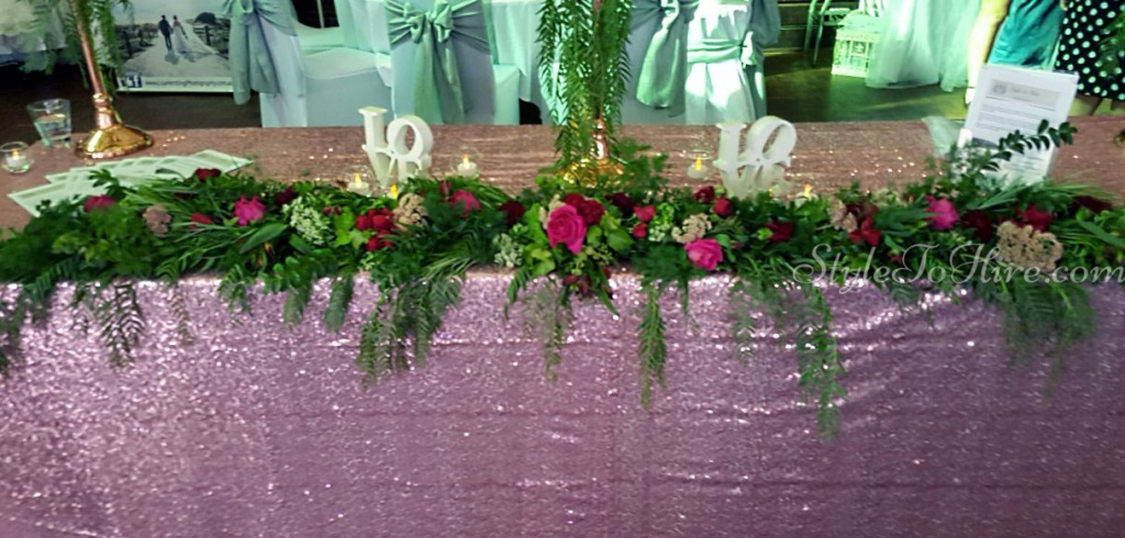 Blush Pink sequin tablecloth $40.00