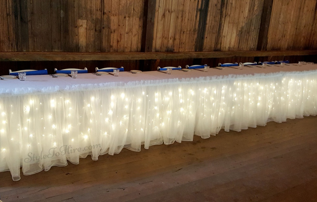 Organza bridal skirting with fairy lights. $130 under 10 people in bridal party. 10+ people $180.00.