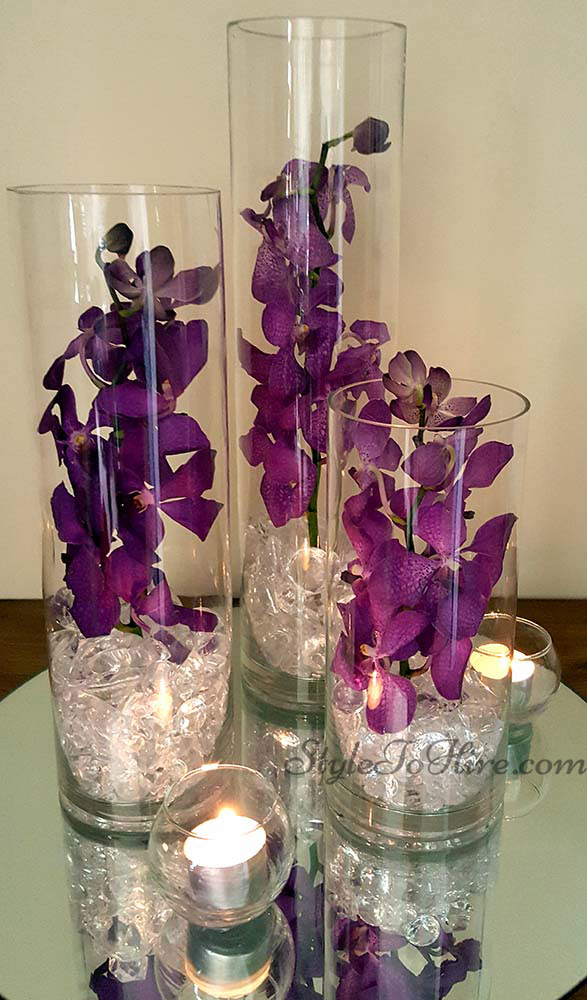 Trio of cylinder vases with Purple Orchids $36.75