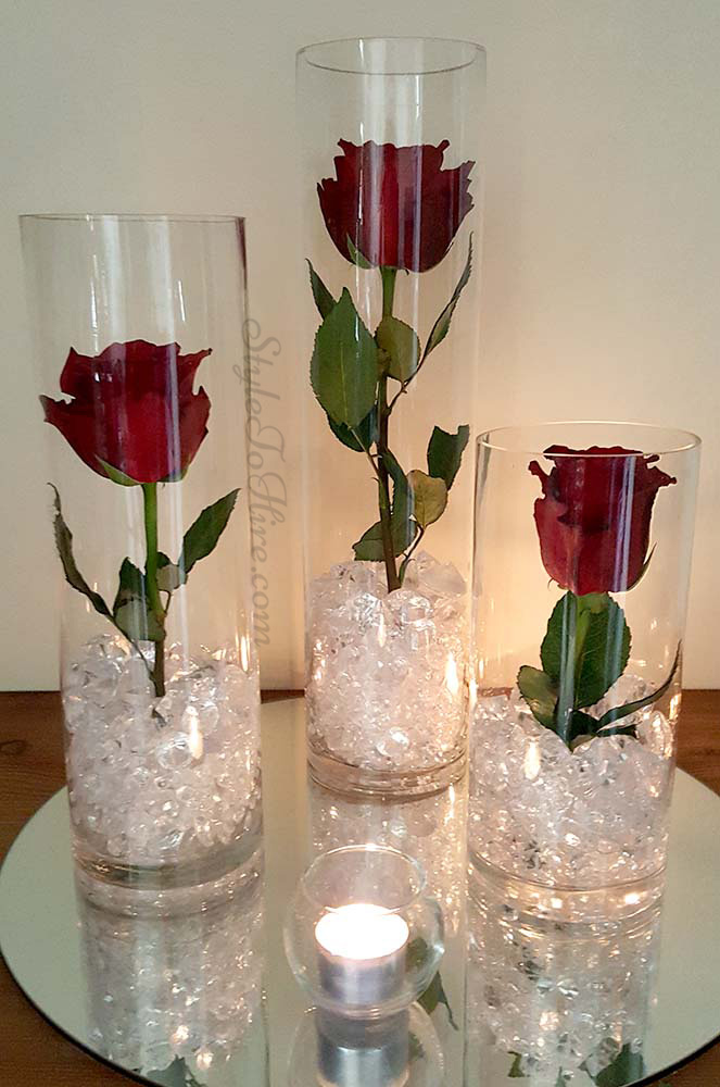 Trio of cylinder vases with Roses $36.75