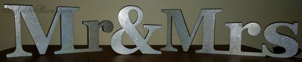 Mr & Mrs Silver Glitter Sign $20.00