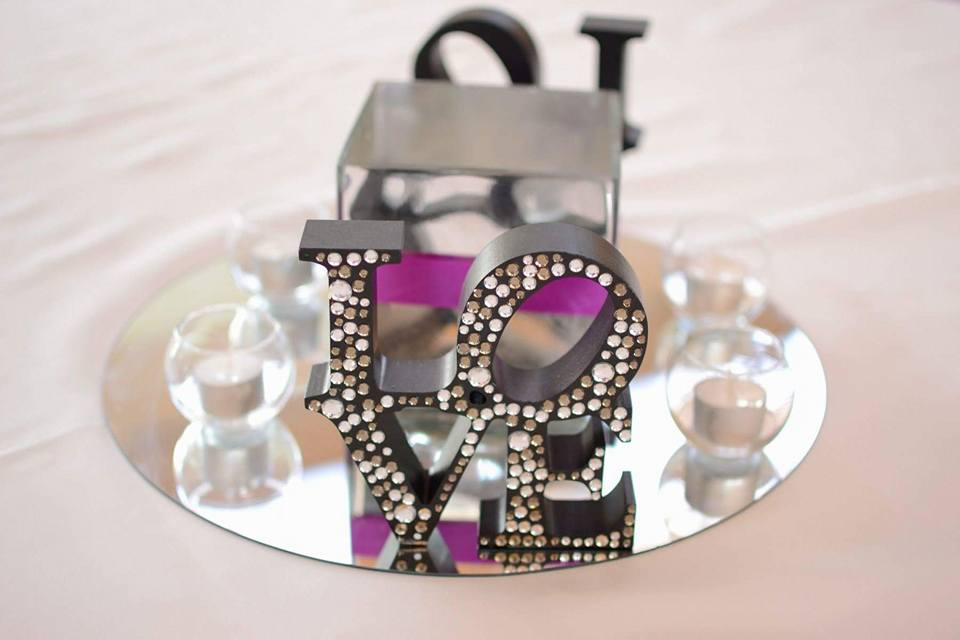 Black Diamonte LOVE block $2.00 each
