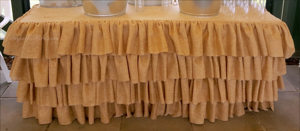 3 tier hessian table cloth and skirting $55