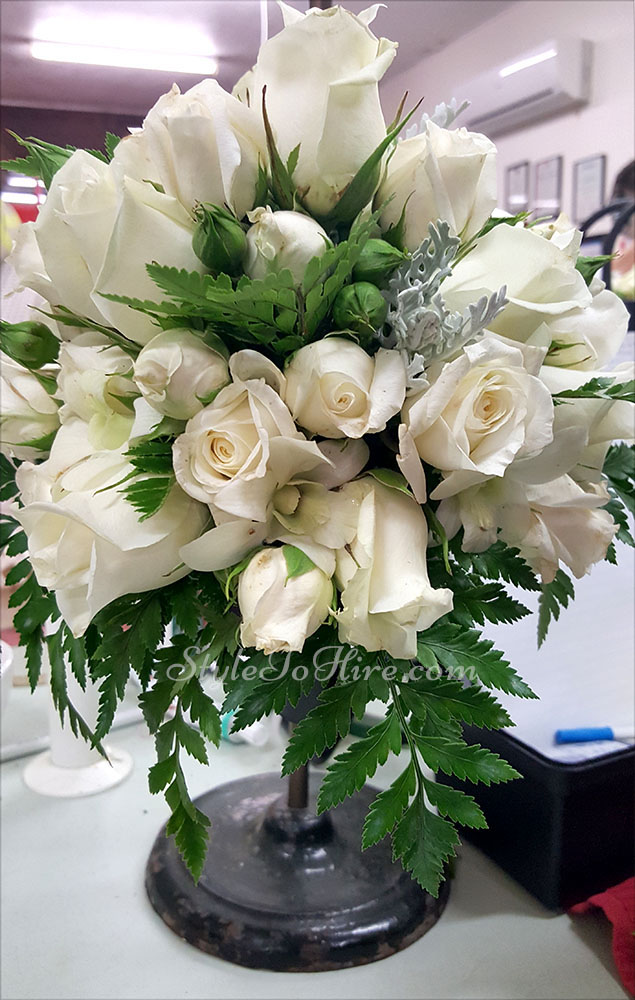White with greenery bouquet