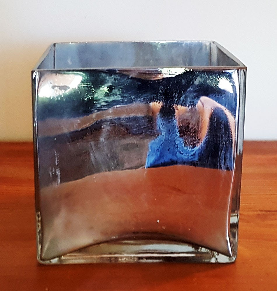 square mirrored vase