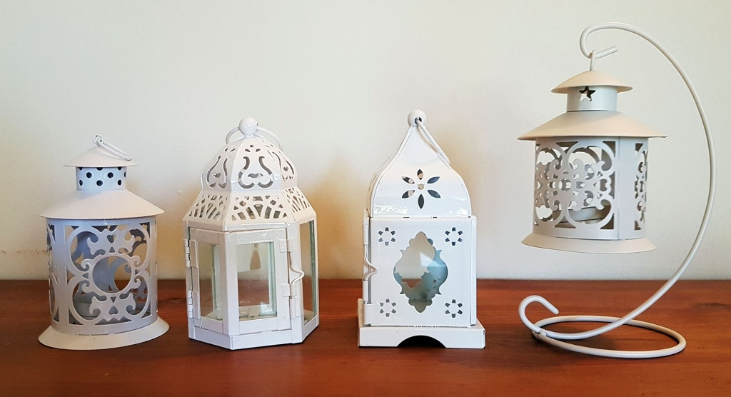 Tealight lanterns white & cream tones w tealight $2.50 each