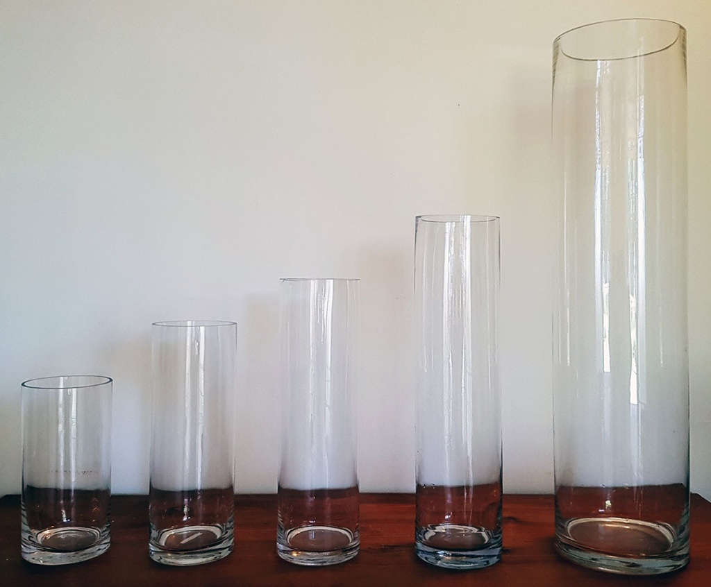 Cylinder vases various heights from $2.00