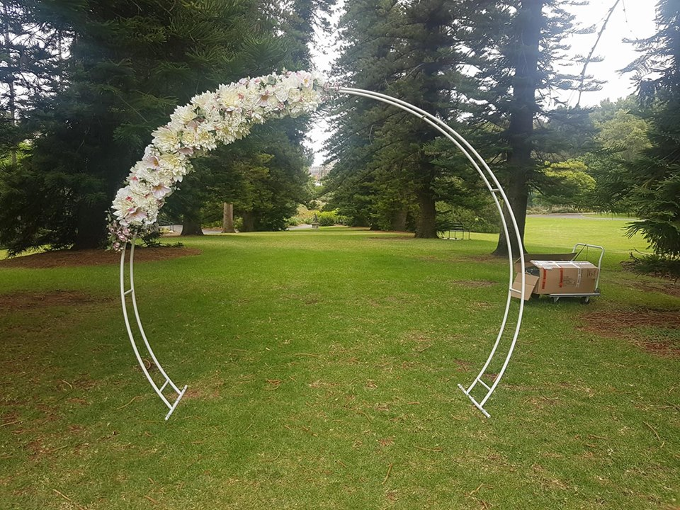 'Michelle' the white moon arch with artificial florals $175.00