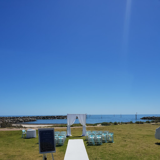 Adelaide Sailing Club ceremony set up with drapery arch