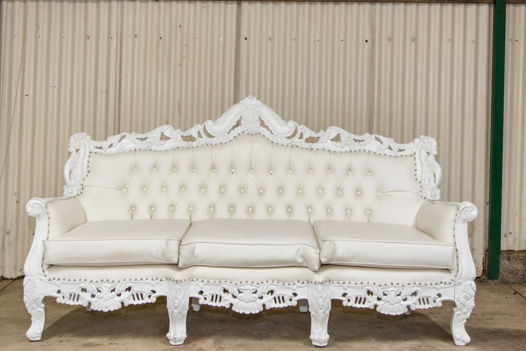3 seater white Louis couch $155.00