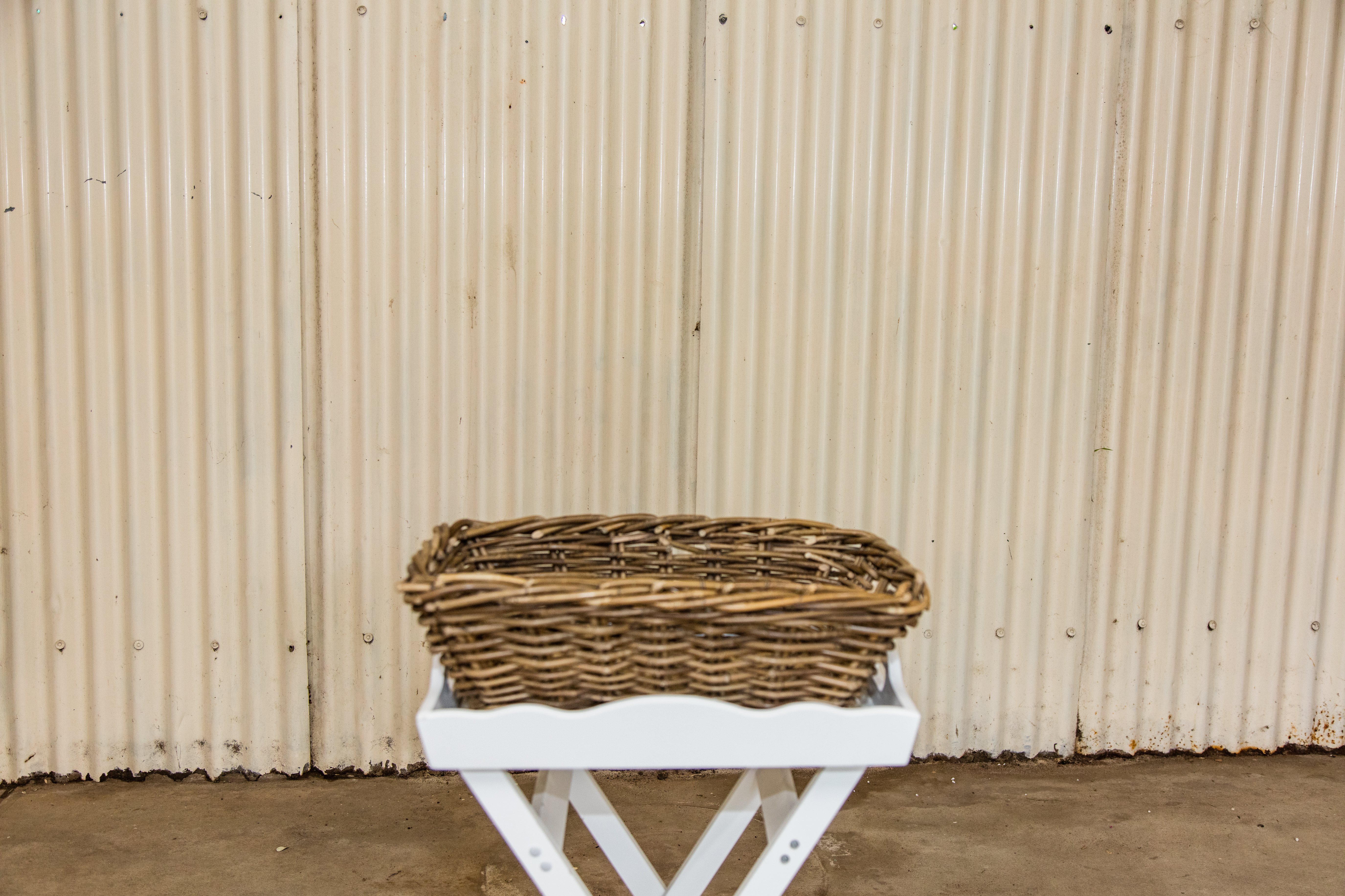 cane basket with white cross over stand $7.50