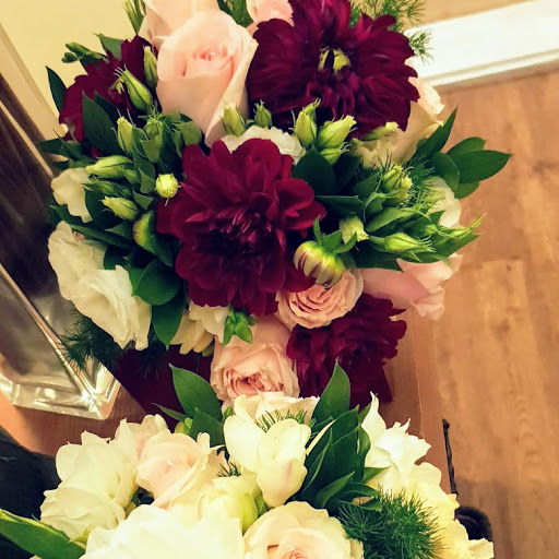 Burgundy, pale pink, cream and white with greenery bouquet