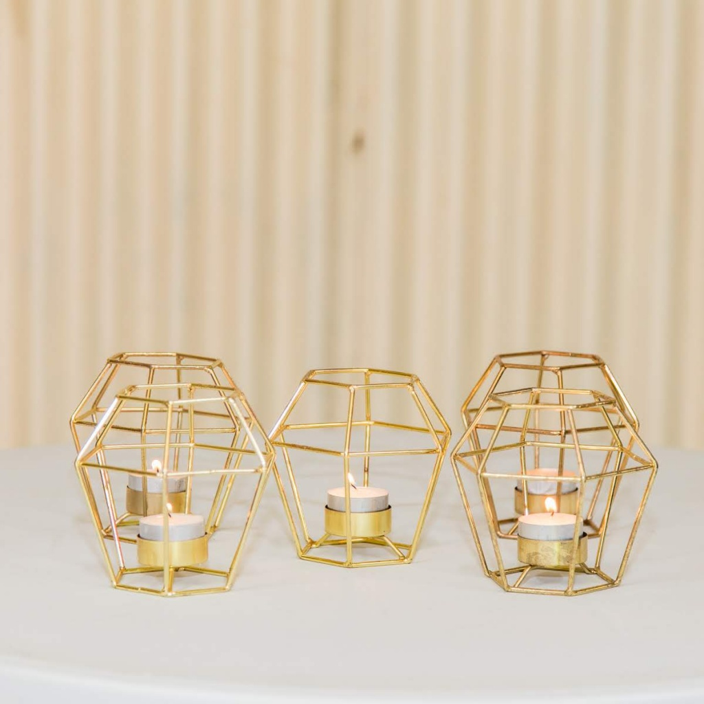 Gold geo tealight holders w tealight $2.50 each