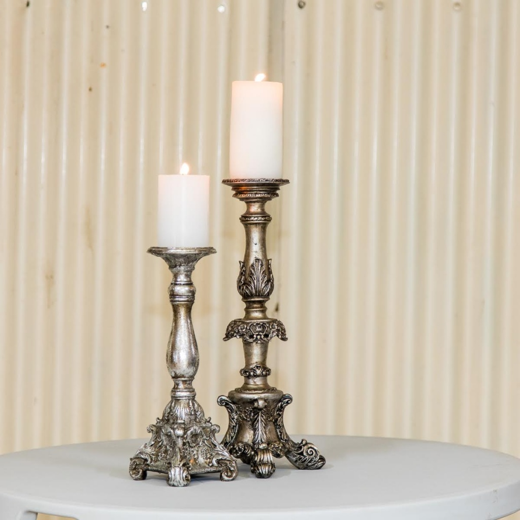 silver candle holders 2 heights