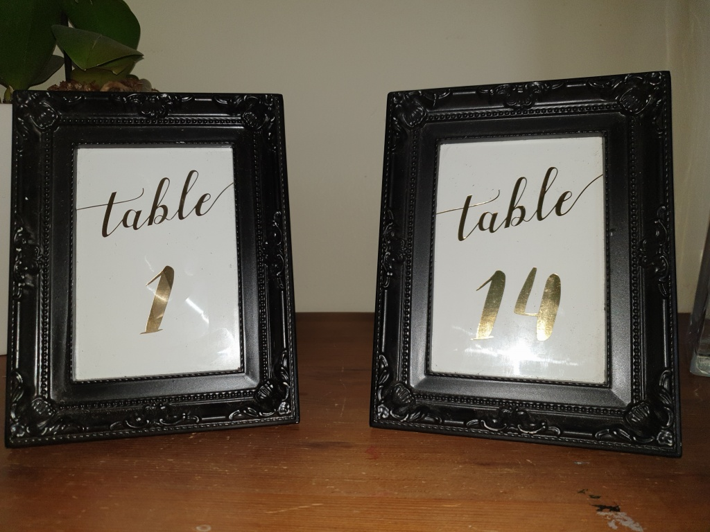 Table numbers black frame with gold writing 1-14 $2.00 per number