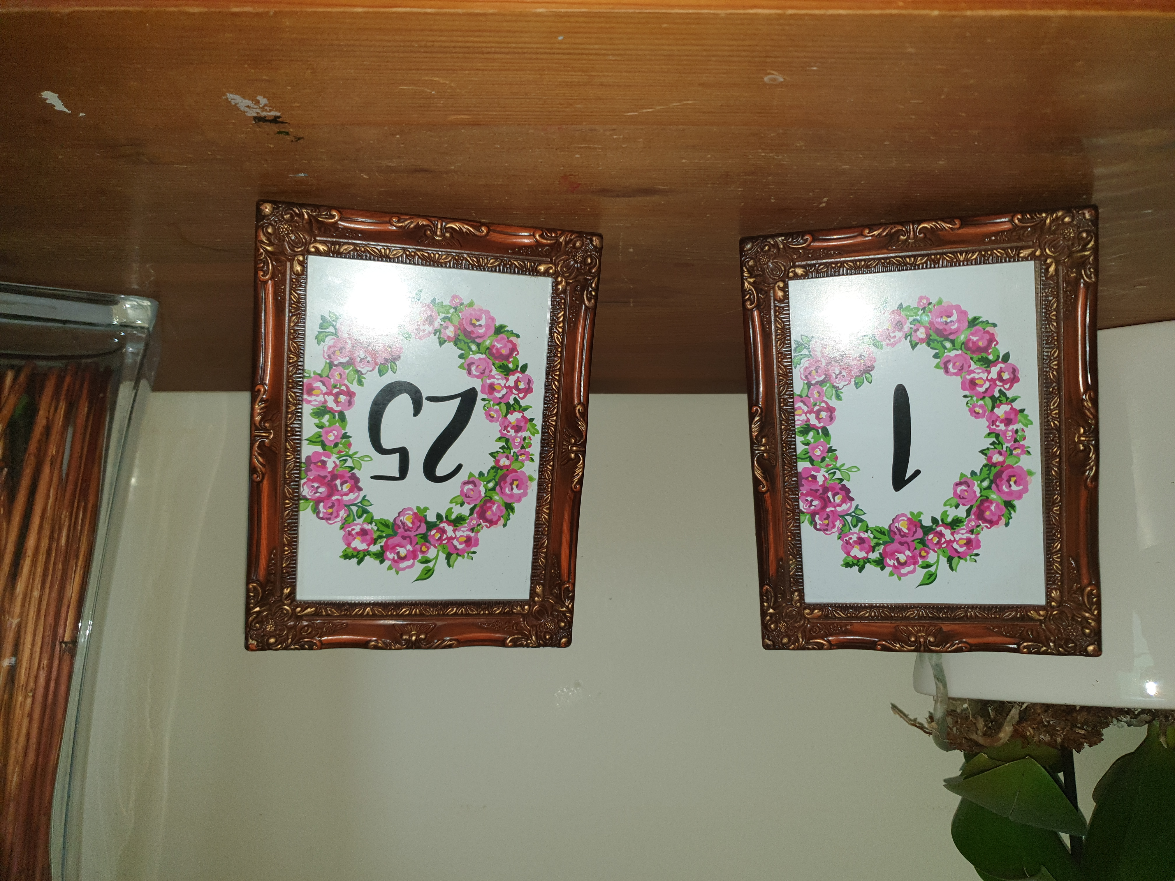 Table numbers brown frame with pink floral pattern 1 to 25 (18 frames) $2.00 per number