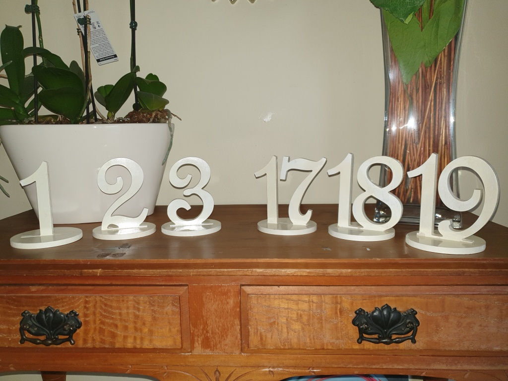 Table numbers cream 1 - 19 $2.00 per number
