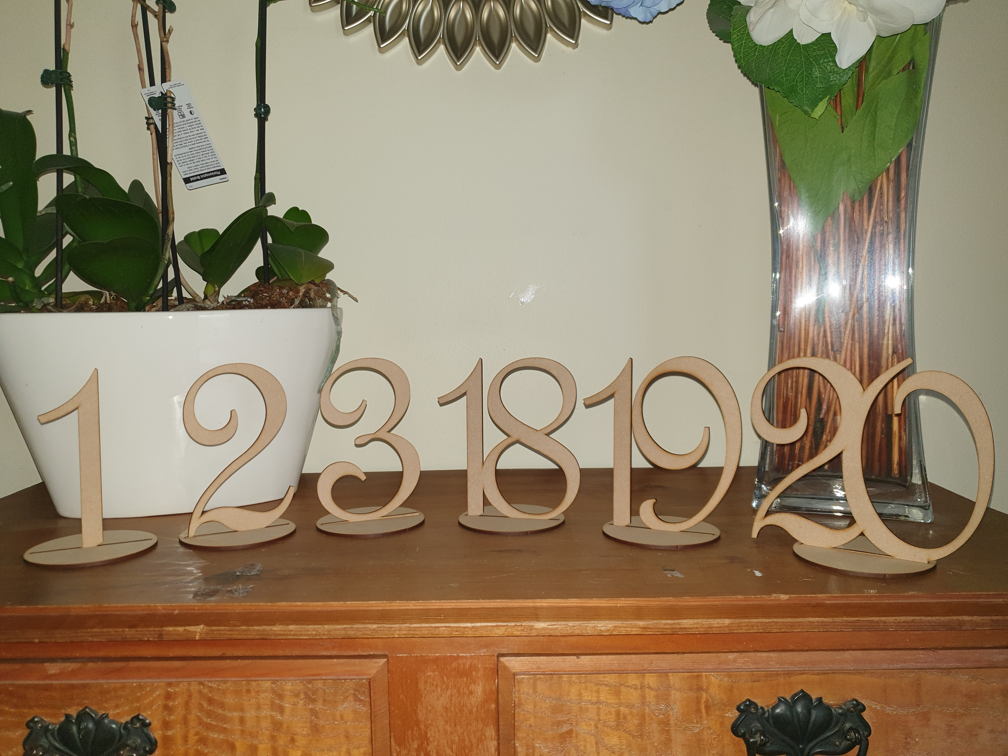 Wooden table numbers 1 -20 $2.00 per number